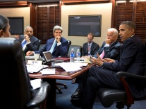 Image: Handout of U.S. President Obama meeting with national security staff to discuss Syria in White House
